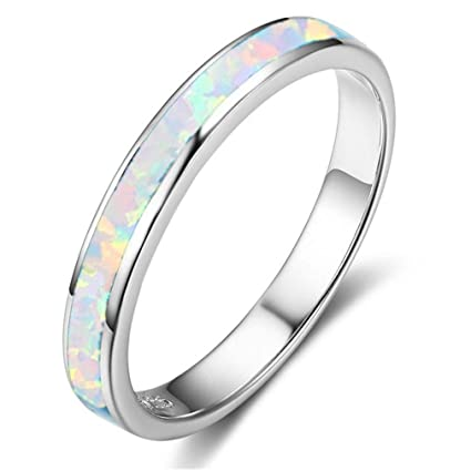 White Lab Opal Eternity Stackable Ring New .925 Sterling Silver Band Sizes 4-12