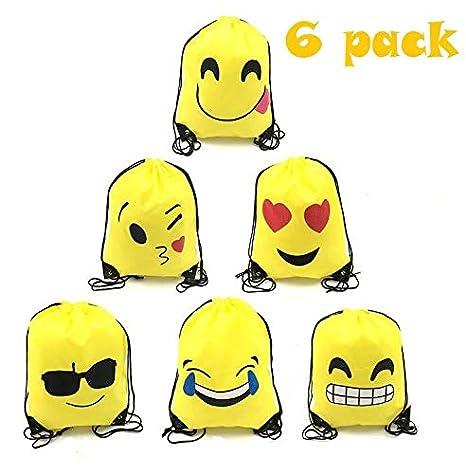 TATAFUN Emoji Bolsas de Cuerdas - 6 PCS Emoji Mochilas Petates Infantiles para Niños Niñas Fiesta de Cumpleaños Favores Decoraciones