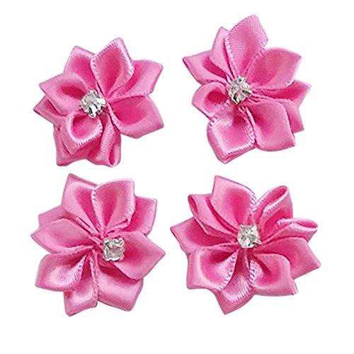 DANDAN DIY Upick More Than 26 Colors 40PCS Satin Ribbon Flowers Bows Rose w/ Rhinestone Appliques Craft Wedding Dec (Fuschia)