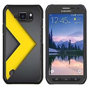 LECELL--Funda protectora / Cubierta / Piel For Samsung Galaxy S6Active Active G890A -- Chevron Go Yellow Gold Line metal --