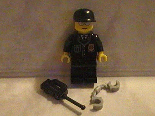 LEGO City Cop Police Officer Custom Minifigure with Radio and Handcuffs