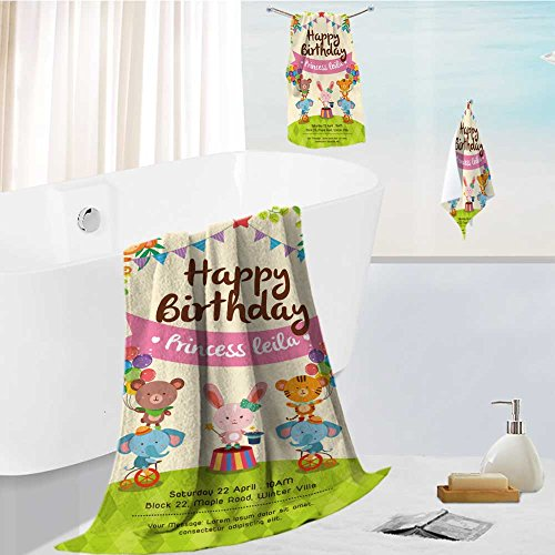 aolankaili Microfiber Beach Towel Set with Travel Colorful Birthday Invitation Card with Cute Circus Animals on Grass Set Two Ultra Absorbent Towel for The -