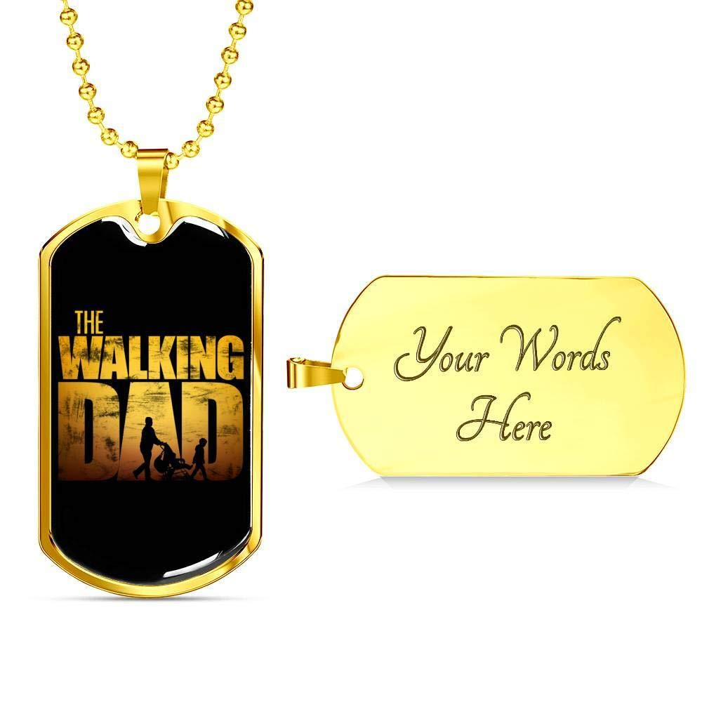 Kid Angeles Walking Dad Dog Tag - Luxury Dog Tag - Military Ball Chain Military Chain (Gold) / Yes