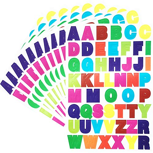 BLUECELL 40 Sheets Colorful Letter Stickers A to Z Alphabet Stickers Cardstock ()