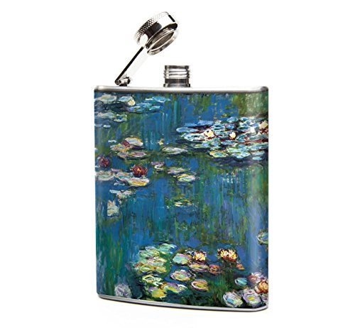 Oso and Bean Monet Water Lillies Designer Art Hip - Flask Designer