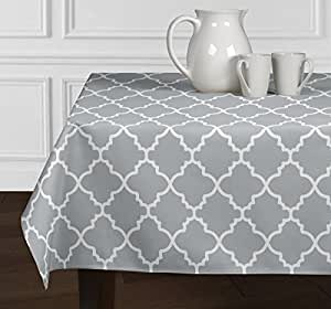 Grey & White Trellis Tablecloths Dining Room Kitchen Rectangle Oblong 60x102