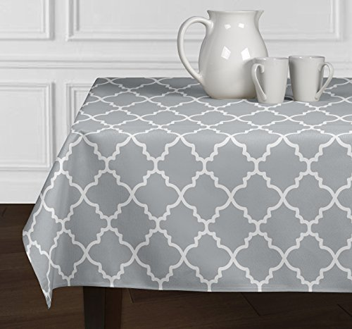 Grey & White Trellis Dining Room Kitchen Square Tablecloth (60