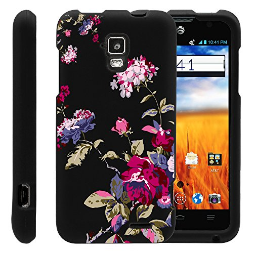 MINITURTLE, Slim Fit Graphic Design Image 2 Piece Snap On Protector Hard Phone Case Cover, Stylus Pen, and Clear Screen Protector Film for AT&T Prepaid GoPhone Android Smartphone ZTE Mustang Z998 (Delicate Flowers)