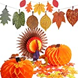 Jovitec 114 Pieces Thanksgiving Decoration Set 1 Piece Paper Turkey 2 Pieces Pumpkin Honeycomb 100 Pieces Artificial Maple Leaves with 2 Strings of Paper Maple Leaf Banner