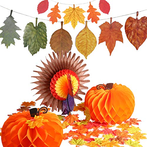 (Jovitec 114 Pieces Thanksgiving Decoration Set 1 Piece Paper Turkey 2 Pieces Pumpkin Honeycomb 100 Pieces Artificial Maple Leaves with 2 Strings of Paper Maple Leaf Banner)