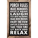 Porch Rules - 15 x 24 Framed Wooden Sign by My Word!