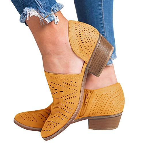 GOUPSKY Women's Ankle Boots Slip On Loafers Pointed Toe Chunky Block Low Heel Office Dress Casual Shoes Cutout Booties Yellow ()