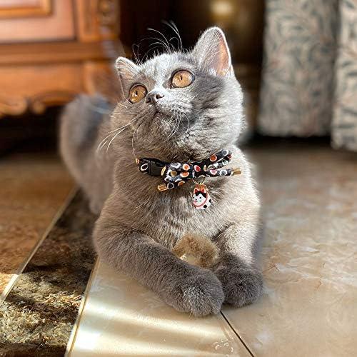 Collar de gato con campana, diseño de lazo con bonito abalorio de gato 6