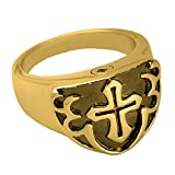 Memorial Gallery 2010bGP-10 Men's Cross Ring Black 14K Gold/Sterling Silver Plating Pet Jewelry, Size 10