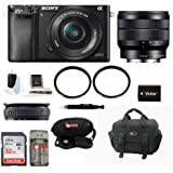 Sony Alpha A6000 Mirrorless Digital Camera with 16-50mm Lens (Black) + Sony SEL1018 10-18mm Wide-Angle Zoom Lens + 32GB Memory Card + Camera Gadget Bag + NPFW50 Battery for Sony & Deluxe Accessory Kit