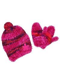 Grand Sierra Toddler's 2-4 Fuzzy Eyelash Beanie and Mitten Winter Set, Pink