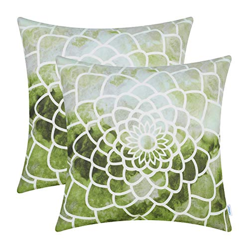 CaliTime Pack of 2 Cozy Fleece Throw Pillow Cases Covers for Couch Bed Sofa Manual Hand Painted Print Colorful Dahlia Compass 18 X 18 Inches Olive Green ()