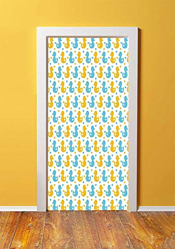 (Rubber Duck 3D Door Sticker Wall Decals Mural Wallpaper,Baby Ducklings Pattern with Little Hearts Love Animals Print Nursery Room,DIY Art Home Decor Poster Decoration 30.3x78.17893,Blue and)