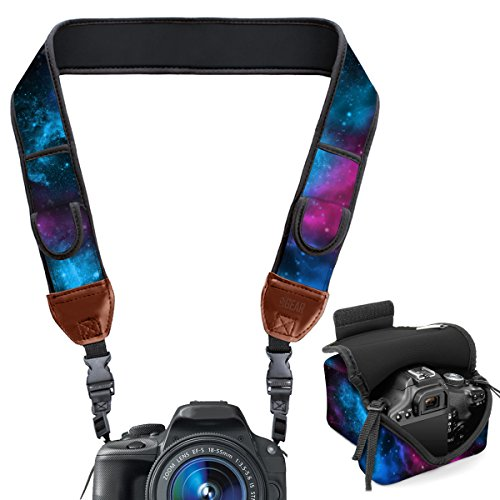 Neoprene Camera Strap and Camera Case Galaxy with Quick Release Buckles and Accessory Storage Pockets by USA Gear - Works with Canon , Fujifilm , Nikon , Olympus , Sony and More Cameras