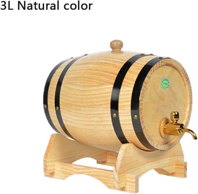 Ritapreaty Barril de Vino de Madera, Almacenamiento de Barril para vinos Cubo de Almacenamiento de Barril Especial Barriles de Cerveza Oak Pine 1.5L y 3L