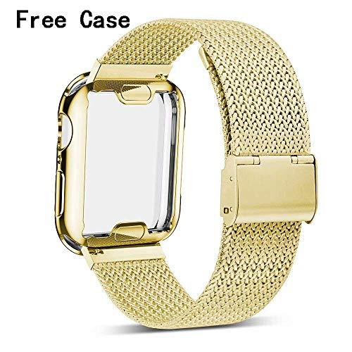 (Henstar Compatible with iWatch Band with Screen Protector 38mm, Sport Strap with Protective Case for iWatch Series 3/2/1 (Gold, 38mm))