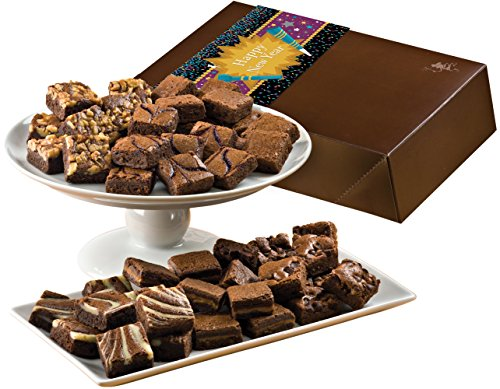 Fairytale Brownies New Year Magic Morsel 48 Gourmet Food Gift Basket Chocolate Box - 1.5 Inch x 1.5 Inch Bite-Size Brownies - 48 Pieces