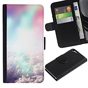 Ihec-Tech / Flip PU Cuero Cover Case para Apple Iphone 5 / 5S - Colorful clouds