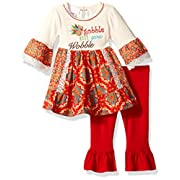 Bonnie Baby Baby Girls Holiday Dresses and Legging Sets, Red, 3-6 Months