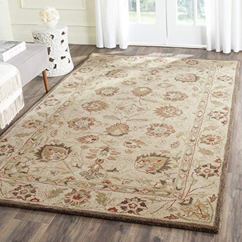 Safavieh Antiquities Collection AT812A Handmade Traditional Oriental Beige and Beige Wool Area Rug (5' x 8') (Wool Rugs Oriental)