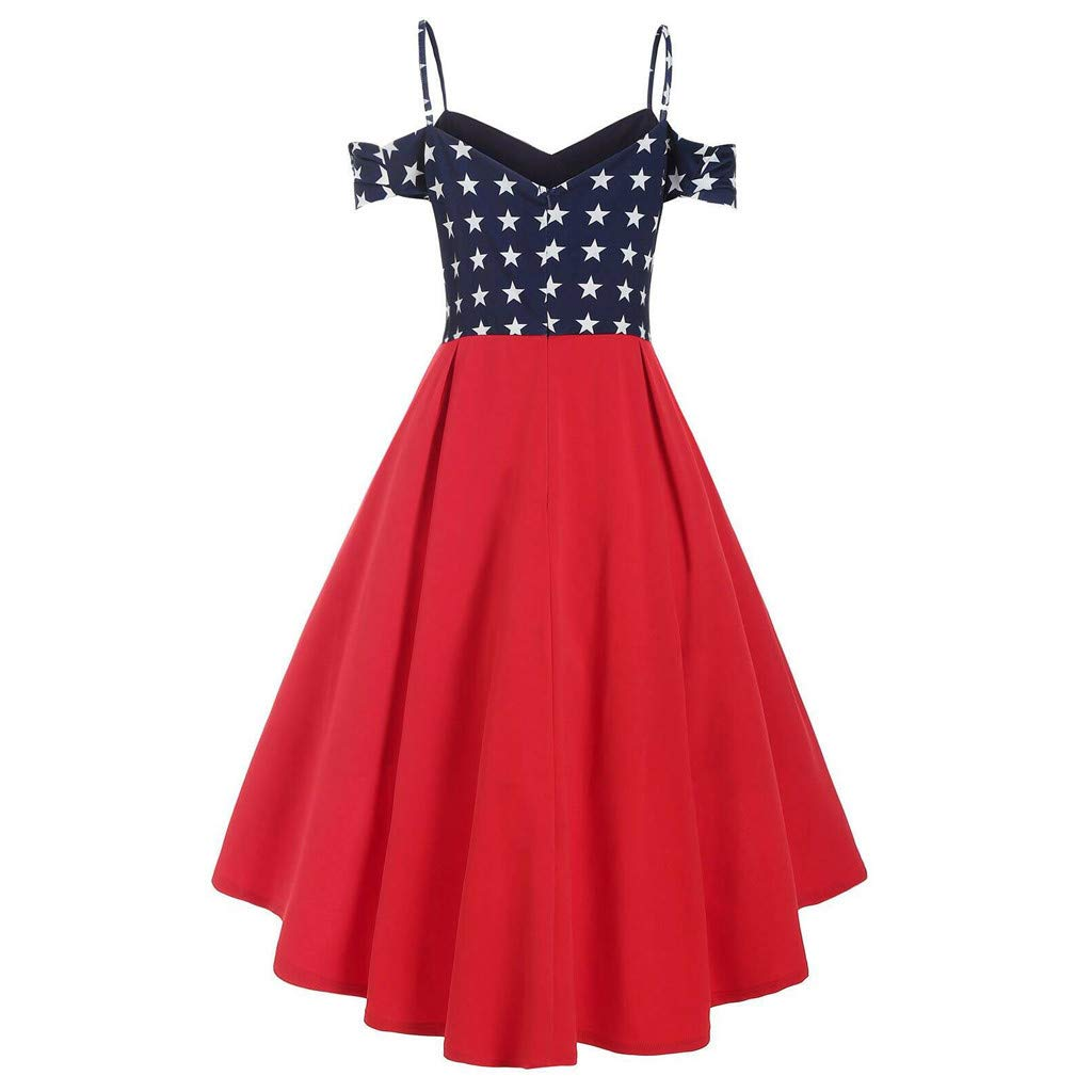 Midress Fashion Women American Flag Printed Open Shoulder High Low Cami Plus Size Dress Womens Off The Shoulder Ruffle Dress