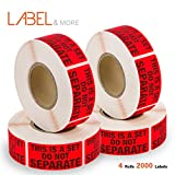 FBA Packing Labels for Shipping Sold As Sets and Bundles Printed This Is a Set Do Not Separate Label Stickers FBA Supplies 1''x 2'' Self-Adhesive Fluorescent Red Labels [4 Rolls, 2000 Labels] LABEL&MORE