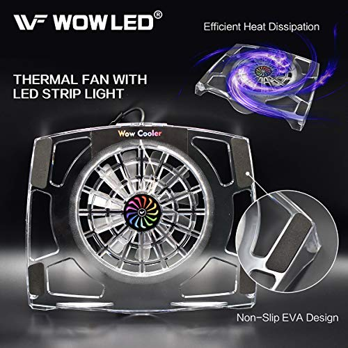 WOWLED Upgrade Sturdy LED Cooling Cooler Fan 3-Key Mini Controller PS4 Accessories Pro Cooling Fan, Xbox One X 360 Playstation 4 Sony Game Console PC, All-in-One USB RGB LED Fan Pad Stand Coolers by WOWLED (Image #5)'