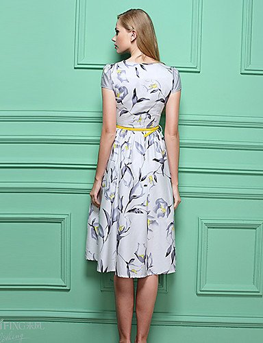 PU&PU Robe Aux femmes Gaine Vintage,Imprimé Col Arrondi Mi-long Polyester , white-2xl , white-2xl