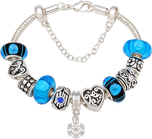 Between Silver tone Bead Charm Bracelet