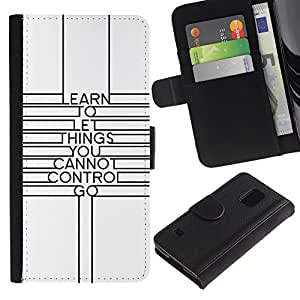 iBinBang / Flip Funda de Cuero Case Cover - Cita minimalista Líneas motivación - Samsung Galaxy S5 V SM-G900