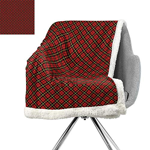 (Geometric Blanket Small Quilt,Traditional Scottish Plaid Pattern Tartan Tile Checked Striped Retro Print,Red Black Yellow,Blanket as Bedspread W59xL31.5 Inch)