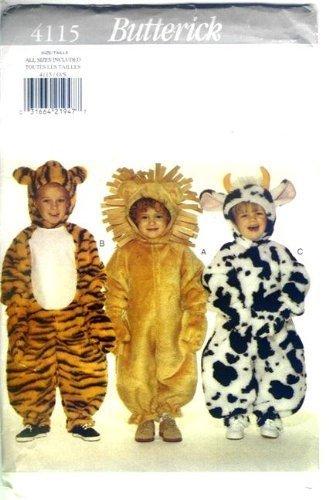 Butterick Schnittmuster 4115 Kleinkinder Kostüme – Tiger, Löwe und ...