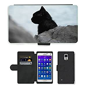 Super Stella Cell Phone Card Slot PU Leather Wallet Case // M00145600 Cat Black Profile Looking Feline // Samsung Galaxy Note 4 IV