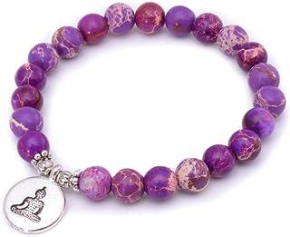 TDPYT 2 Pz/Healing Balance Yoga Perle di Pietra Braccialetto per Uomo Donna Mala Perline Chakra Braccialettotibetano Buddista Guarigione Gioielli Fortunati