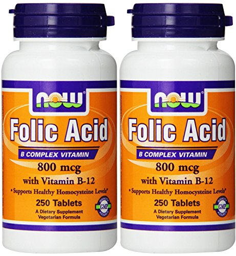 NOW Foods Folic Acid 800mcg, 250 Tablets (2 Pack)