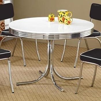 Amazon - Coaster Retro Round Dining Kitchen Table in Chrome