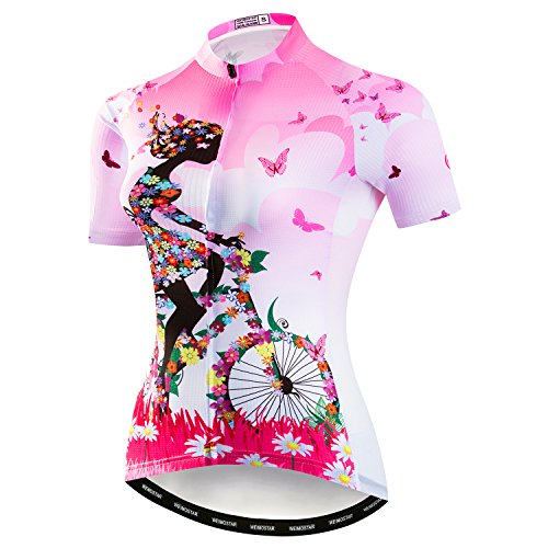 Weimostar Women's Cycling Jersey Bike Shirts Short Sleeve Ladies Bicycle Clothing MTB Cycle Jacket Girl Riding Bicycle Pink Size - Ladies Cycling Jackets