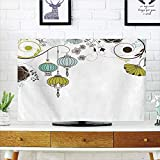 LCD TV Cover Lovely,Lantern,Abstract Expression of Coming of New Year in China Vibrant Colors,Apple Green Sky Blue White,Diversified Design Compatible 55'' TV