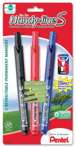 Pentel Handy-line S Retractable Permanent Marker, Fine Bullet Tip, Assorted Ink Colors, 3 Pack  (NXS15BP3M) - Pentel Retractable Handy Line