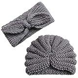 2Pcs Infant Baby Knitted Beanie Cap Bowknot Headband, Iuhan Newborn Baby Boy Girl Knitted Turban Hat Hair Band Beanie Headwear Cap Sets