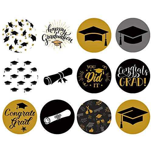 (Supla 1200 Pcs Graduation Stickers Graduation Party Favor Labels Stickers 12 Design Graduation Gift Favor Circle Labels Treat Bags Label Stickers 1.5