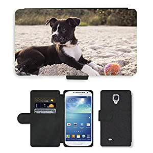 Hot Style Cell Phone Card Slot PU Leather Wallet Case // M00109341 Dog Puppy Playing Ball Sand Beach // Samsung Galaxy S4 S IV SIV i9500