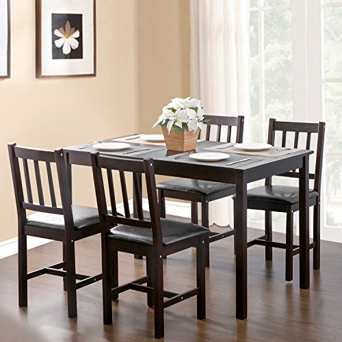 Merax. 5-piece Kitchen Dining Set Wood Dining Table with 4 Dining (Wood Upholstered Dining Table Set)