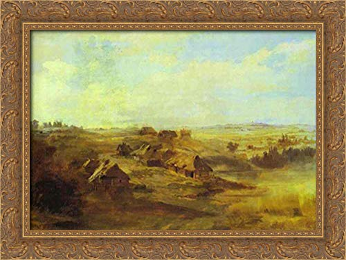 Landscape with Peasant'S Huts and Pond Near St. Petersburg 24x18 Gold Ornate Wood Framed Canvas Art by Fyodor Vasilyev (Galleria St Petersburg)
