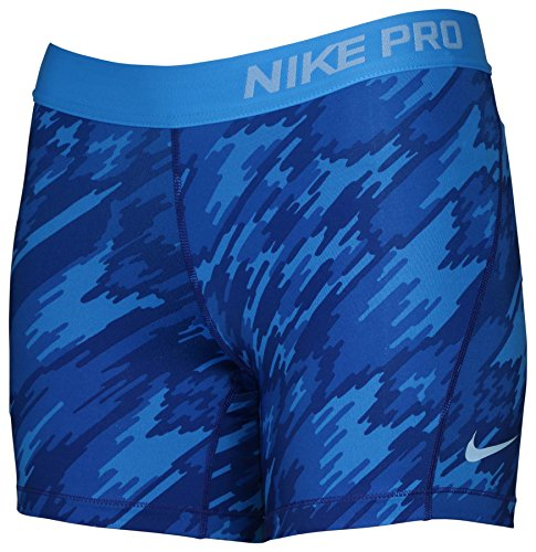 Nike Girl's Dri-Fit Training Pro Cool Compression Short 903746-435 Blue Camo (L)